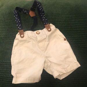 🔸3 for $25🔸Zara Khaki Shorts w/ Navy Suspenders